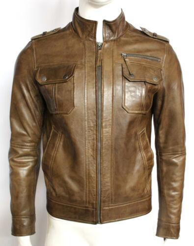 Clive slim fit men/'s Gents Oliva Designer Modello Casual 100/% in Pelle Giacca Da Motociclista