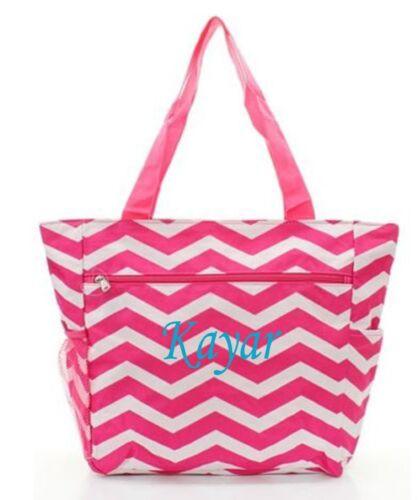 Personalized Canvas Tote Bag Pocket Chevron Beach Bag Diaper Bag Free Monogram