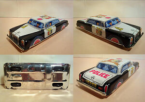TIN-TOY-MERCEDES-POLICE-A-FRIZIONE-MADE-IN-JAPAN