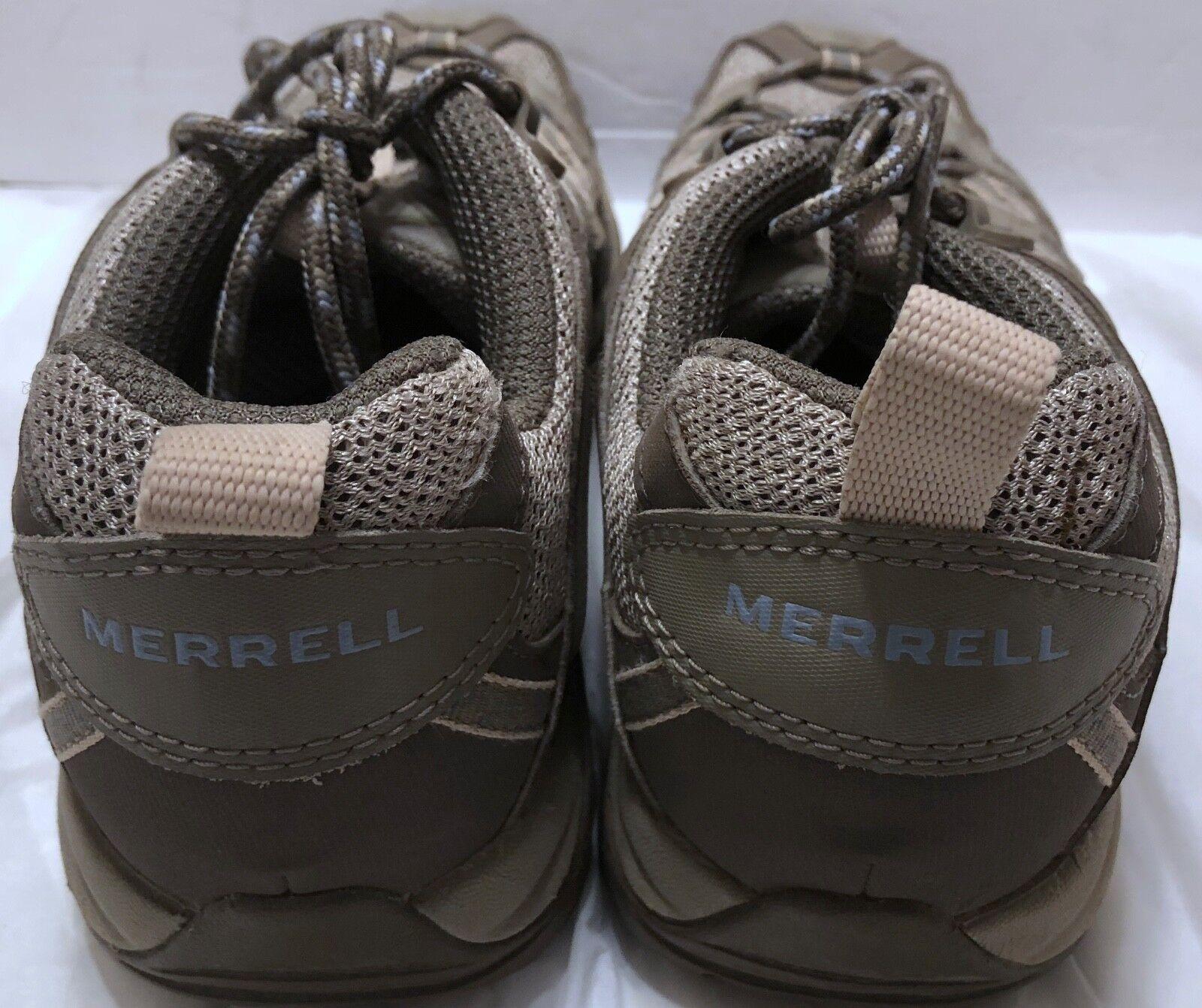 Merrell Olive Braun Blau Hiking Schuhes Größe 7.5 Vibram Soles Trail Hike Outdoors