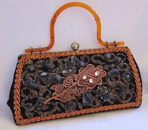 50s-Vtg-Caron-Houston-TX-Beaded-Embellished-Handbag-Purse-Amber-Lucite-Handle