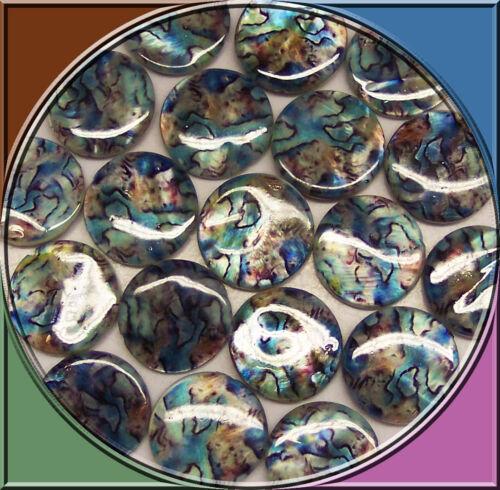 20 Perlmuttperlen auf Strang blau bunt marmoriert 20 mm Naturperlen basteln