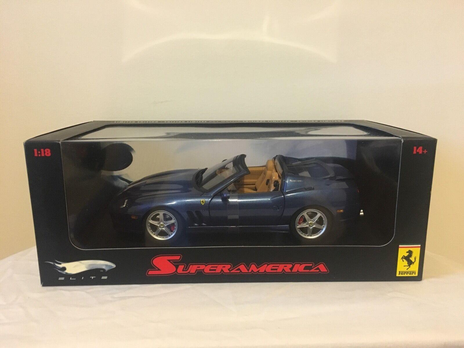 Hotwheels Ferrari Elite 575 Superamerica bleu 1 18 MATTEL RARE Difficile à trouver HW J2922