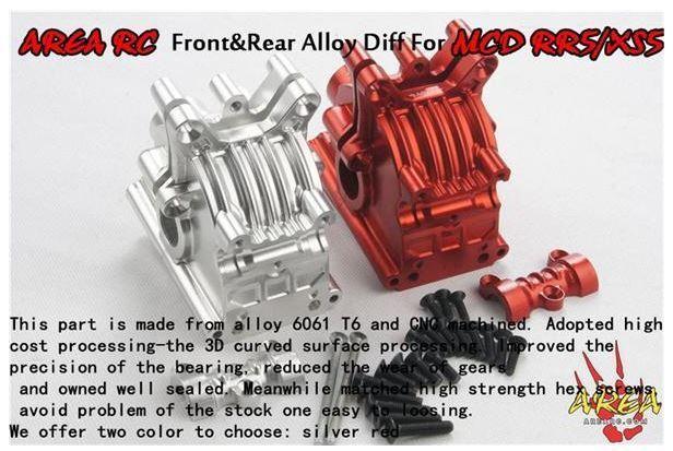 1 5 MCD RR5 aleación delantera o trasera Diff Carcasa Rojo por radio control AR-R007 AREA