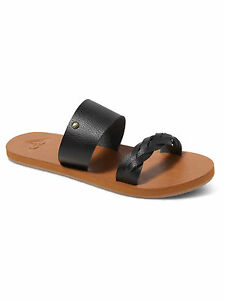 Image is loading ROXY-WOMENS-SANDALS-TESS-STRAPPY-BLACK-FAUX-LEATHER-