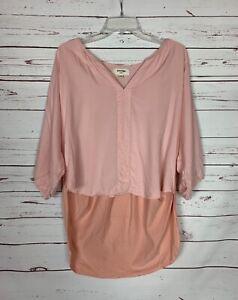 Porridge Anthropologie Women's L Large Pink Cute Spring Tunic Top Blouse Shirt