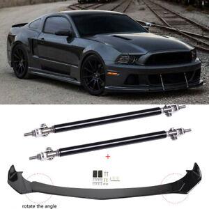 For Ford Mustang 2000-2021 Front Bumper Lip Splitter Spoiler + Strut Rods Set JQ