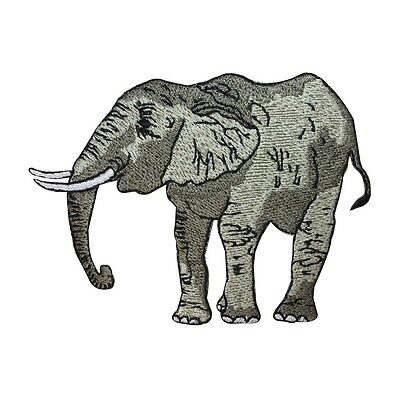 ID 2827 Gray Grey African Elephant Animal Iron On Badge Applique Patch