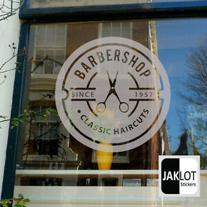 BARBER SHOP Personalised Date Circle Frosted Etched Vinyl Window - Frosted vinyl window decals
