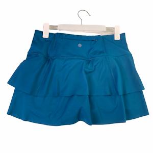 Athleta Swagger High Rise Tiered Running Tennis Skirt Skort S EUC Marine Green