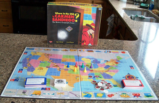 vintage WHERE IN USA is Carmen Sandiego Board Game COMPLETE very nice