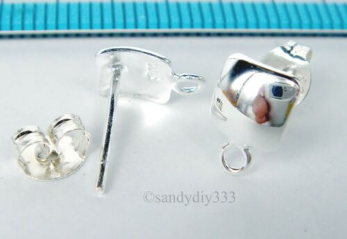 2x BRIGHT STERLING SILVER PLAIN CURVED SQUARE LOOP POST EARRINGS 6mm #1575
