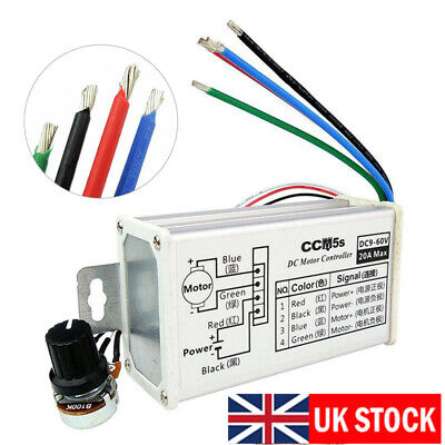 12V 24V Max 20A PWM DC Motor Stepless Variable Speed Fashion Controller Switch..
