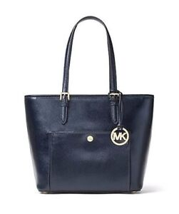NWT-Michael-Kors-Jet-Set-Travel-Metallic-Saffiano-Leather-Tote-Admiral