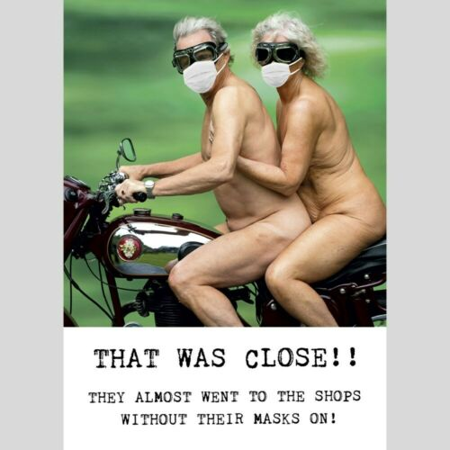 Funny Blank Greeting Card Nude Couple /& Masks on Motorbike Any Occasion Birthday