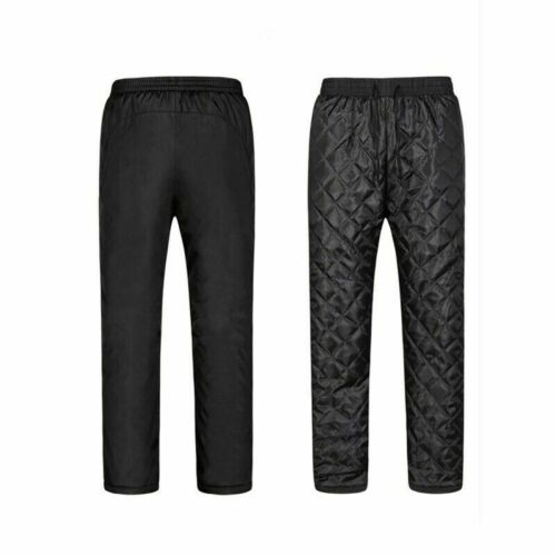 Winter Men Elasticated Waist Quilted Trouser Padded Lined Outdoor Pants Warm Fit