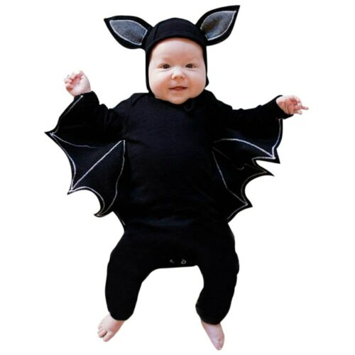 Newborn Twin Baby Boy Girl Batman Wing Bodysuit Hat Photoshoot Halloween Costume