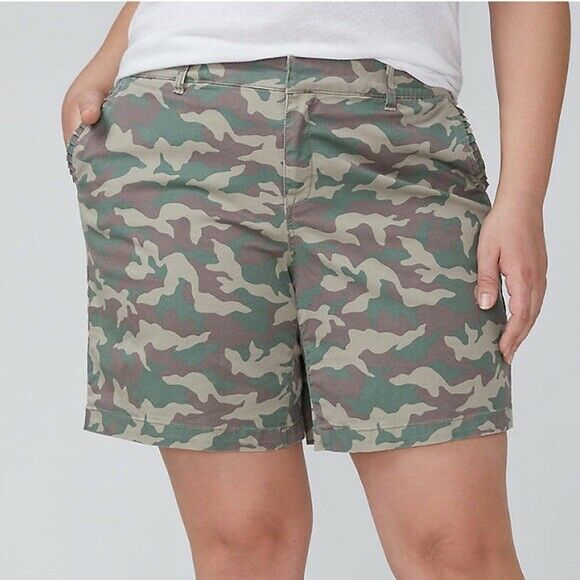 Lane Bryant Plus Size 28 Camouflage Girlfriend Short NWT FREE SHIPPING