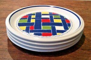 MIKASA-VINTAGE-70-039-S-BLUE-JEAN-BRUSHED-DENIM-RED-amp-BLUE-7-3-4-034-SALAD-PLATES-LOT-OF-4