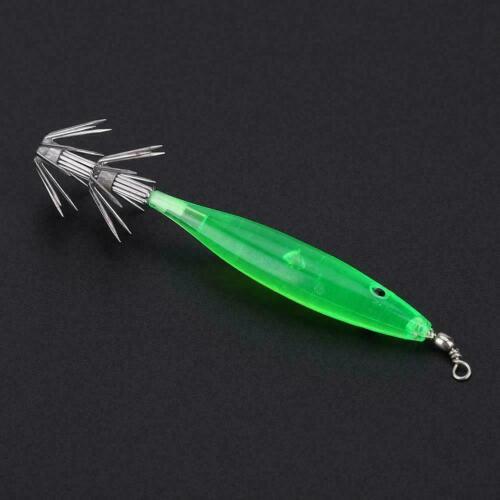 5x Luminous Fishing Lures 3D Eye Squid Jig Hook Hard Fishing Lures Baits Tackle❤