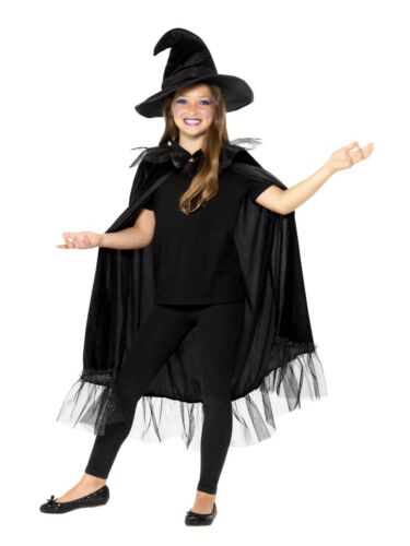 Girls Sparkly Witch Kit Black with Cloak /& Hat Halloween Fancy Dress Accessory