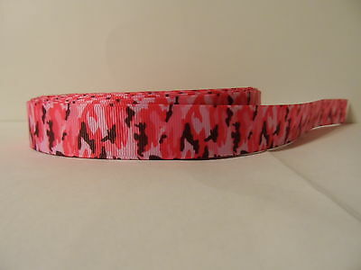 "Grosgrain Ribbon, Multi Pink Camo, country fabric, country girl camo, 7/8"" Wide"