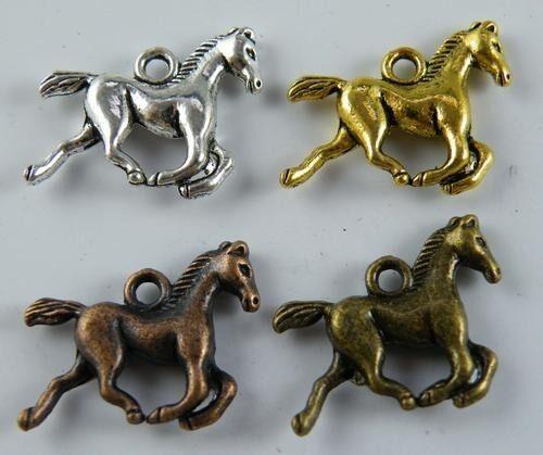 60pcs Silver//Gold//Copper//Bronze Color 3D Horse Charms 19x15mm 17511