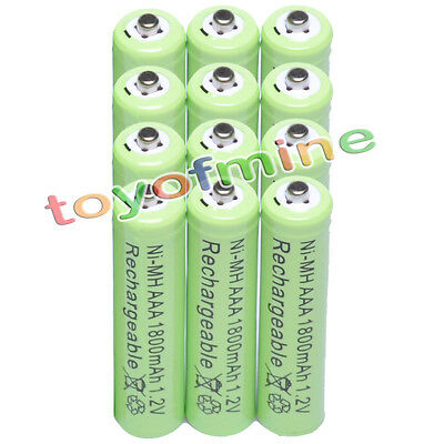 12 pcs AAA 1800mAh 1.2 V Ni-MH Rechargeable battery G2