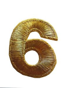 """NUMBERS-2/""""H Gold Number /""""0/"""" Iron On Embroidery Appliqué Patch"""