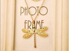 XXL 68cm Libelle Libellenkette Kette Halskette Goldfarben 1174