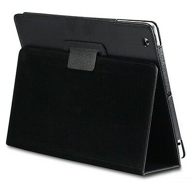 New Black Leather Folio Case Cover with Stand for The New iPad 2 iPad 3 & iPad 4