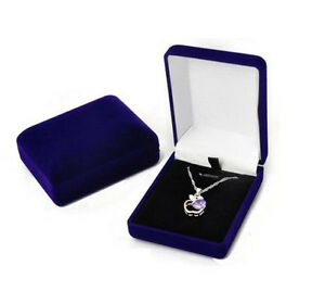 Details About Deluxe Blue Velvet Pendant Necklace Earring Presentation Jewelry Gift Box