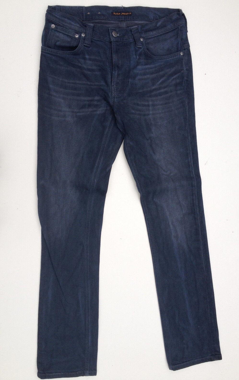 Nudie Jeans 'cinta Ted  Negro y Azul Amor' Talla W31 L32 orgánico usado en excelente estado PVP 269  para hombre  primera reputación de los clientes primero