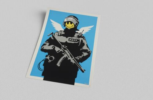 ACEO Banksy Smiley Police Trooper Graffiti Street Art on Canvas Giclee Print