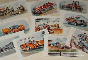 Lot-Cartes-Postales-AUTOMOBILES-par-JP-BOIVENT-Collection-Les-bruleurs-de-gomme
