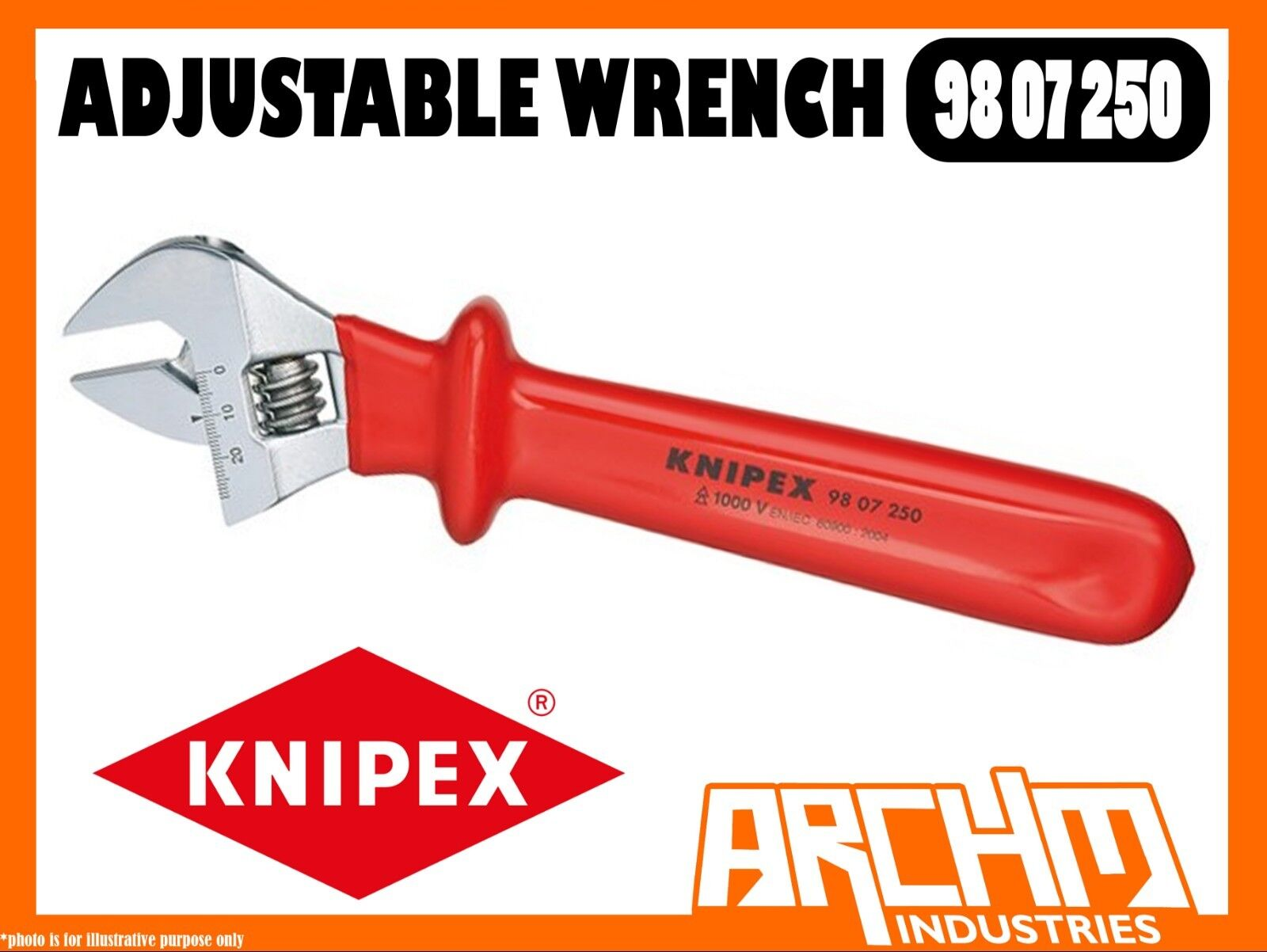 KNIPEX 9807250 - ADJUSTABLE WRENCH - 260MM - HEXAGON SMOOTH GRIPPING JAW