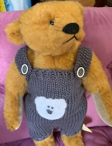 Bearly-There-18-Jointed-Teddy-Bear-with-Hand-Knit-Overalls-And-Tag-Free-Ship