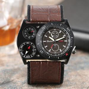 OULM-Three-Time-Zone-Leather-Band-Strap-Men-Business-Quartz-Wrist-Watch-Bangle