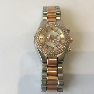 0d87d5e9ff5d Image is loading Michael-Kors-Womens-Two-Tone-Stainless-Rose-gold-