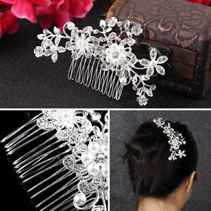 Diamond-Bridal-Wedding-Flower-Silver-Plated-Stunning-Sparkling-Hair-Comb-Pin-EC