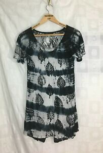 Tunic-Blouse-Women-039-s-Size-S-T-Party-Fishnet-Back-Tie-Dye-Black-Gray-Long-Knit