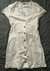 amp-Other-Stories-Women-039-s-White-Cotton-Blend-Mini-Dress-Size-34-UK-6-New-With-Tags