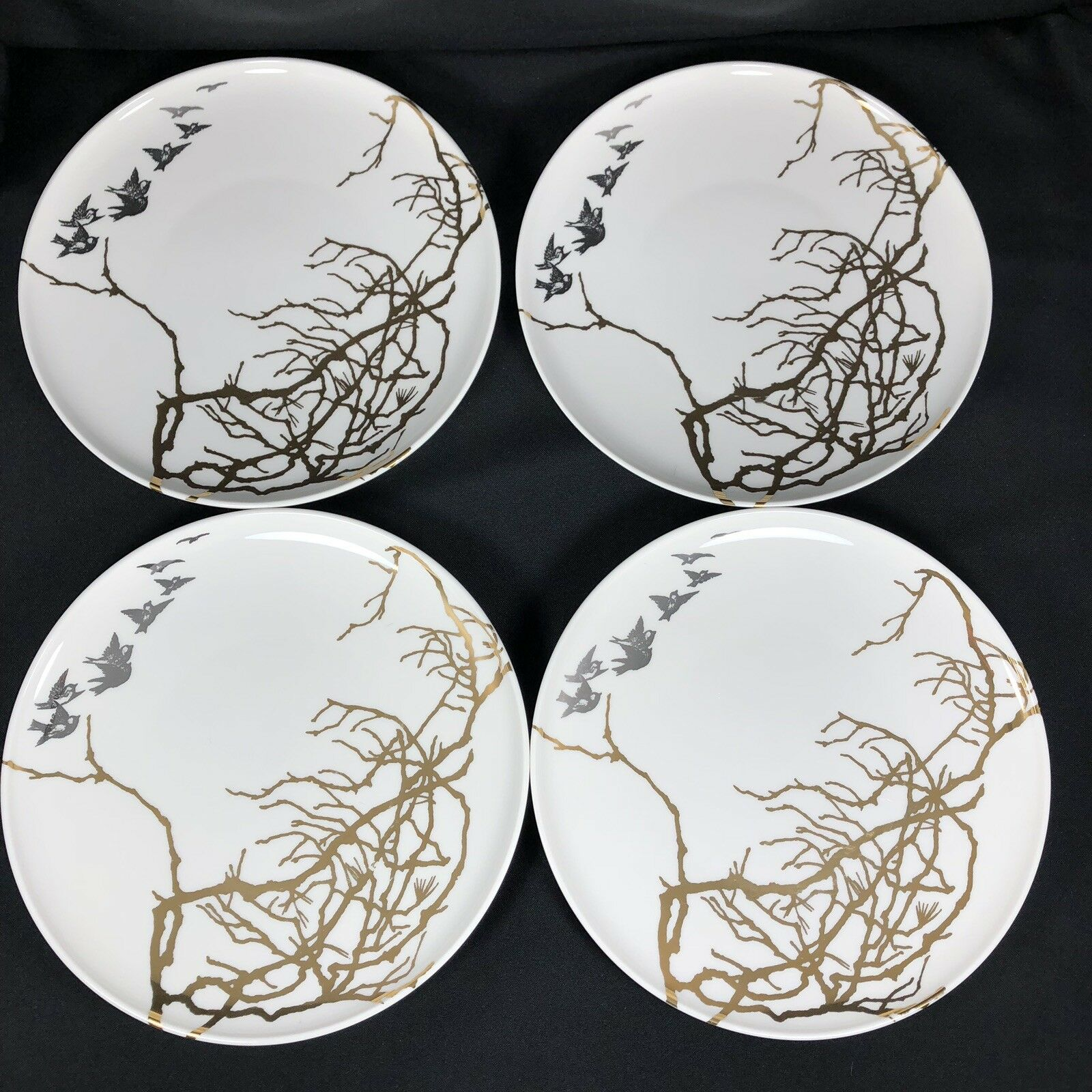CASKATA Artisan Porcelain Birds Flying  Branches or And Platinum 8.5