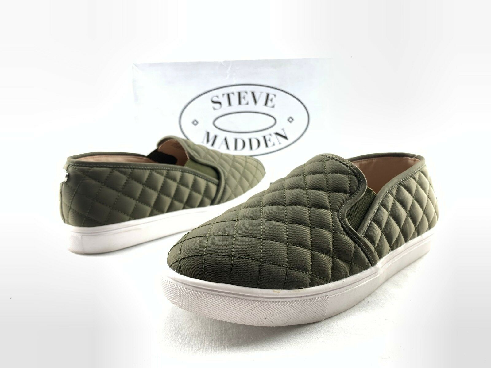 Steve Madden Ecentrcq Women's Olive Green Quilted Slip On Sneakers US 8 W C737