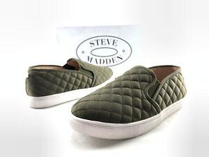 1d02bb09e3c Steve Madden Ecentrcq Women s Olive Green Quilted Slip On Sneakers ...