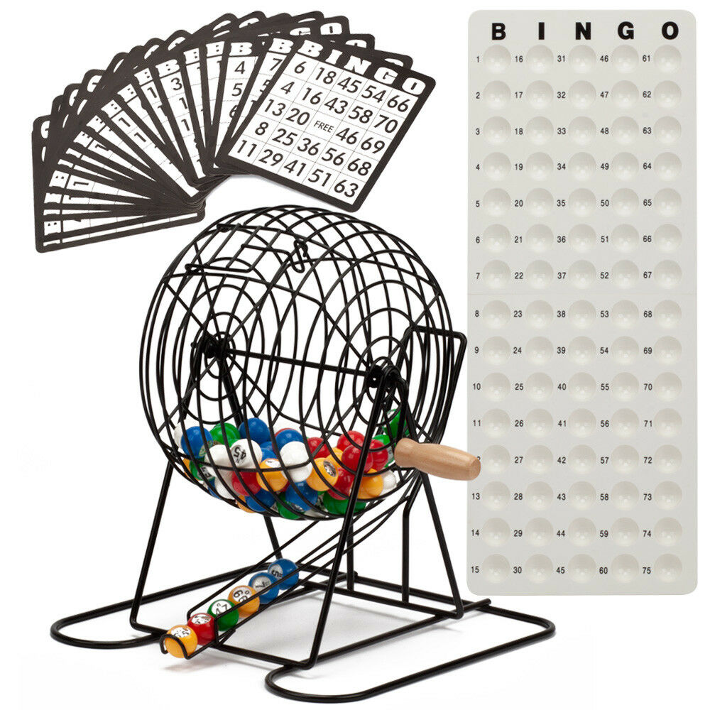 Deluxe Bingo Game Set w/Bingo Cage, Bingo Balls, 18 Bingo Cards, Masterboard