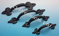Black Antique Cast Iron Fleur De Lys Kitchen Cupboard shed,Gate Door Pull Handle