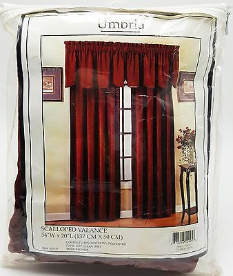 Deep Brick Red Scalloped Valance Leaf Scroll Textured Velour 54x20 New