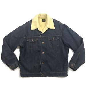 004a0afb981 Vintage SEARS Roebuck Mens Sherpa Lined Denim Jacket L TRUCKER USA ...