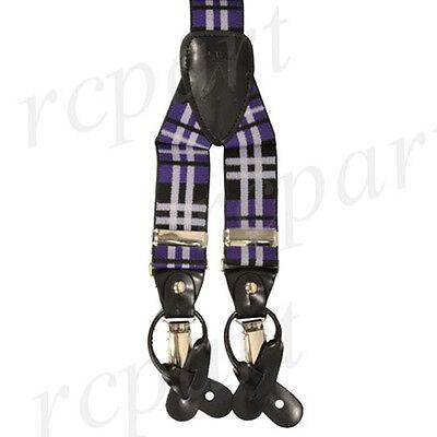 New Y back Men/'s Vesuvio Napoli Suspenders Bowtie Hankie Plaid Burgundy Black